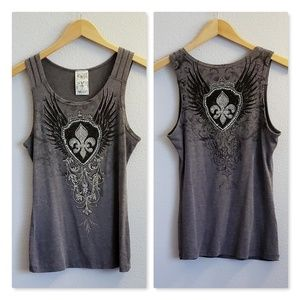 Vocal Scoop Neck Grey Bling Tank